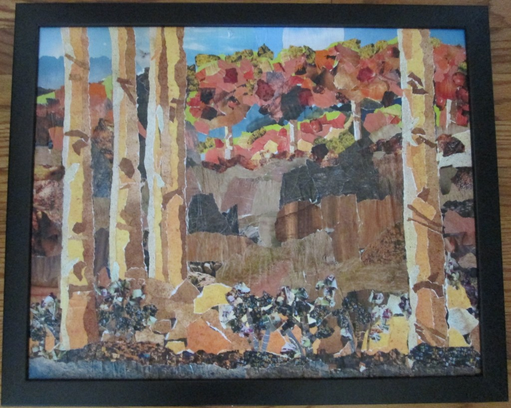 "Boulder Colorado 18"" x 22"" Paper Collage.  $250.00"
