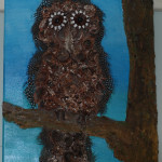 "Owl $150.00 12"" x 16"" Mixed Media"