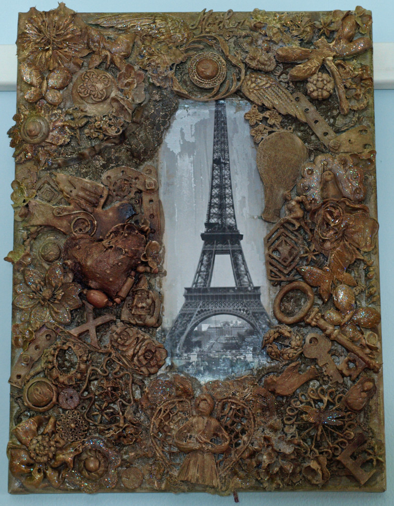 "Eiffel Tower $200.00 12"" x 16"" Mixed Media"