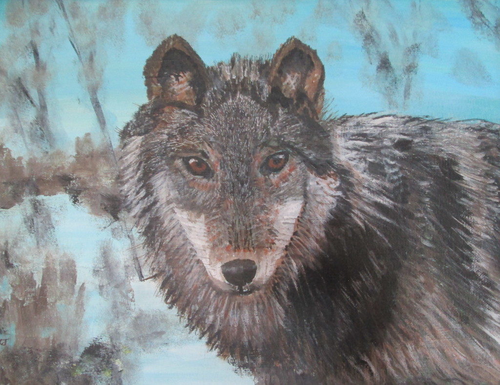"Wolf Spirit $250.00 15"" x 19"" Mixed media"