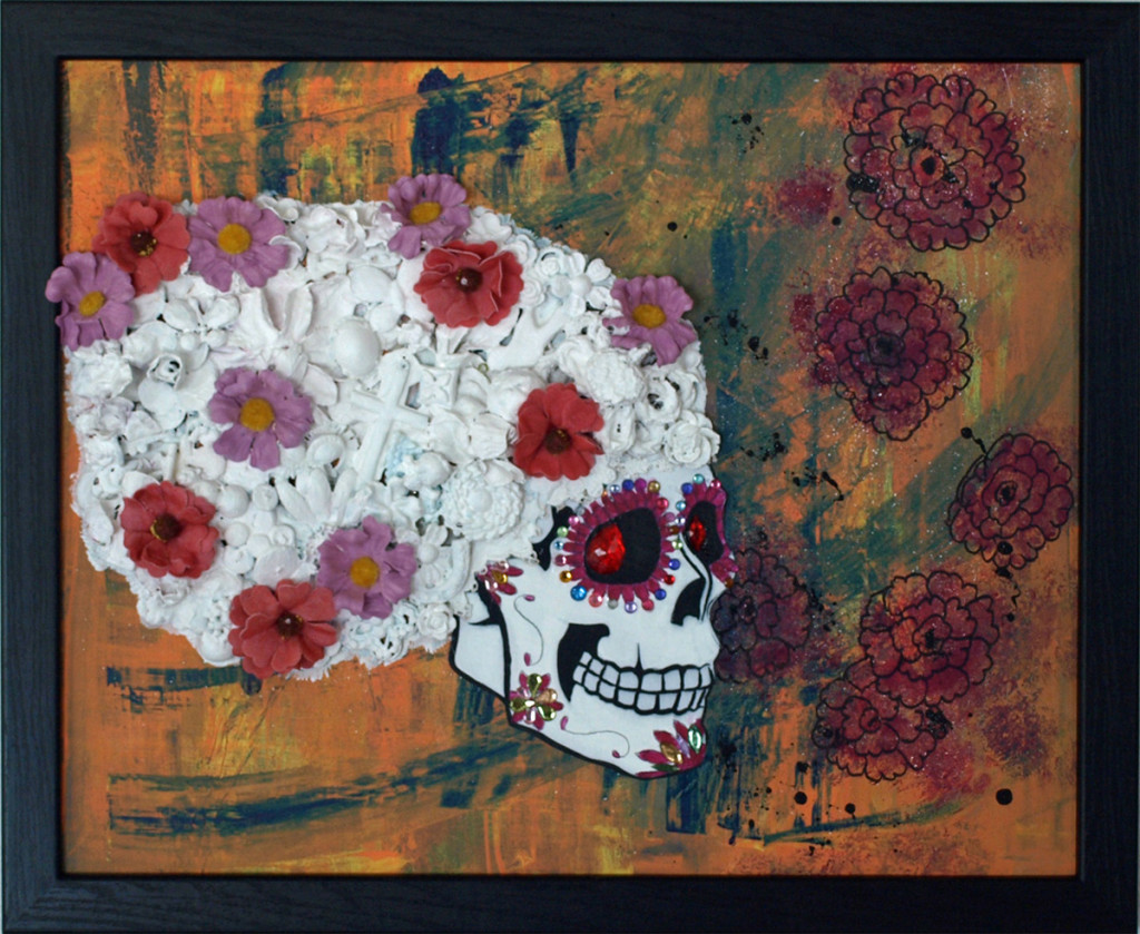 "Flower Skull $250.00- 18"" x 22"" Mixed Media"