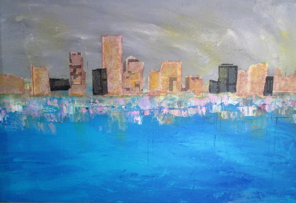 "Cityscape $200.00 32"" x 43"" Mixed Media"